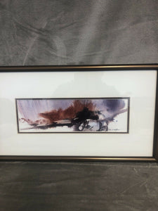 "David S Clow Watercolor Painting 18"" By 10"" Framed Signed Double Matting"