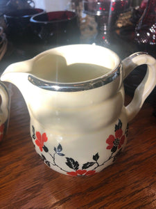Hall China Red Poppy Vintage Sugar Bowl w/ Lid & Creamer Cream Pitcher Set AOP