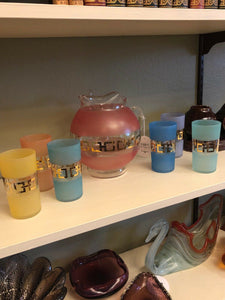 1950s 60s Mid Century Modern Barware Frosted Pitcher & 6 Glass Set Pastels