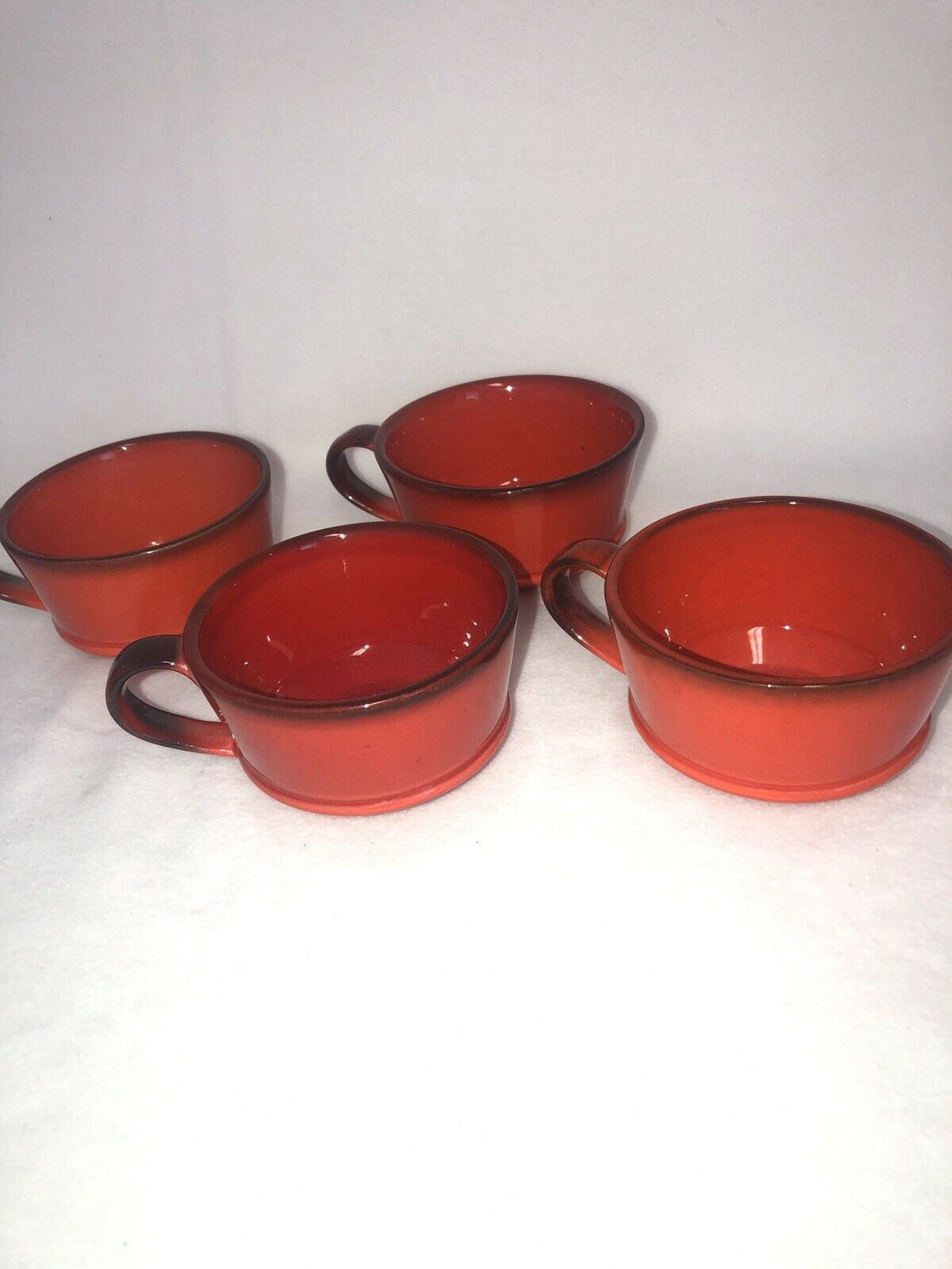 Metlox Poppytrail Red Rooster Set Of 4 Cups Brilliant Red Eames Era MCM Kitchen
