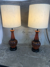 "Load image into Gallery viewer, Pair Of Mid Century Danish Modern Atomic Ceramic Red Lava 60s 37.5"" Tall Eames"