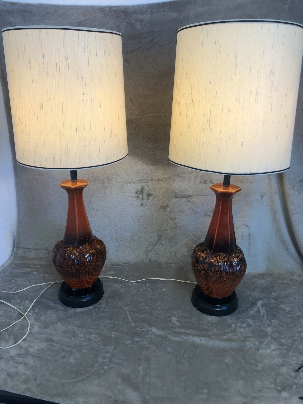 "Pair Of Mid Century Danish Modern Atomic Ceramic Red Lava 60s 37.5"" Tall Eames"