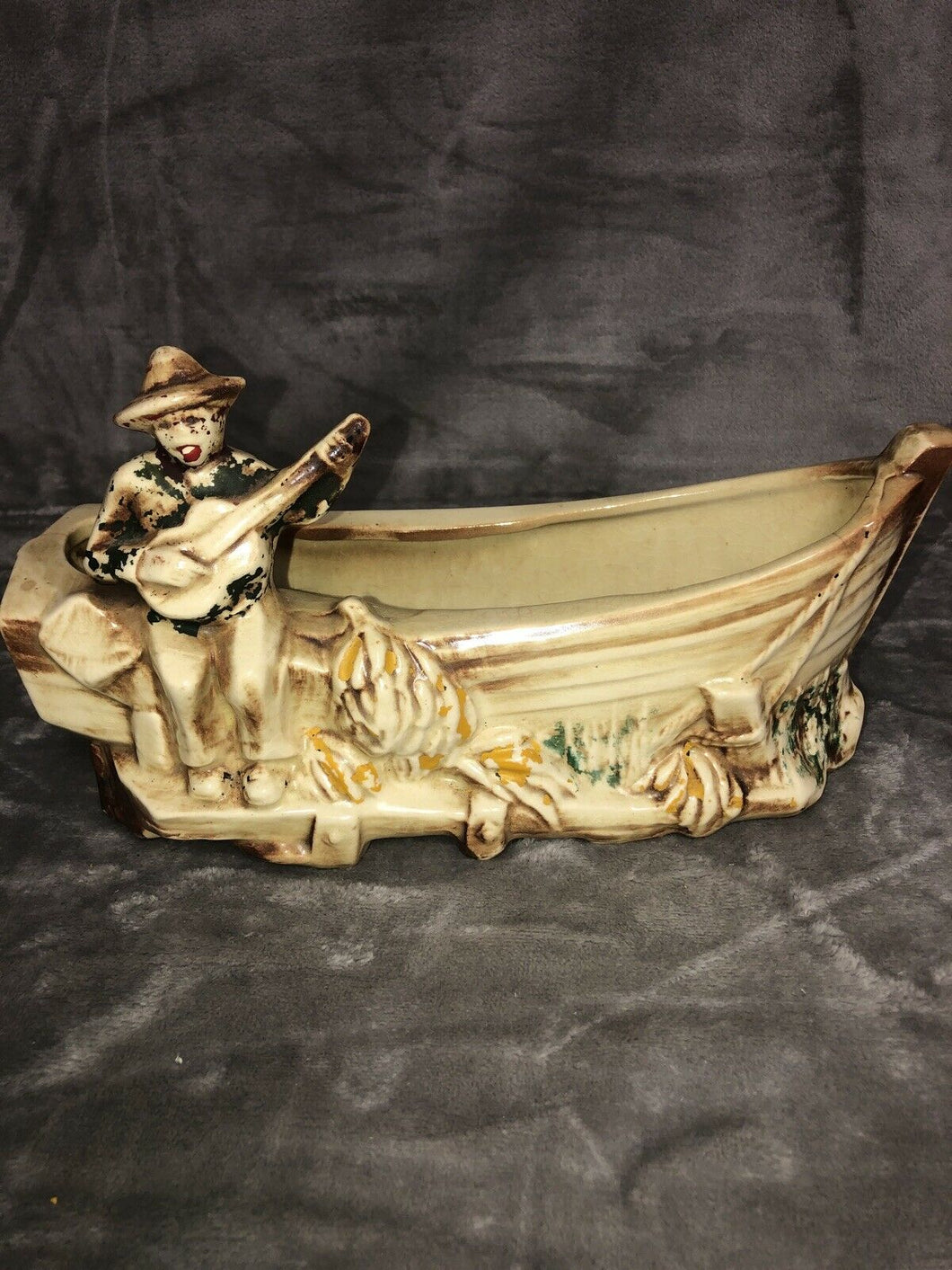 "McCoy Pottery Banana Boat Planter 11.25"" Long Fantastic Patina"