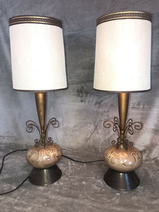"Pair Of Mid Century Danish Modern Atomic Brown 25.5"" Bedside Table Lamps"