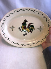 "Load image into Gallery viewer, Vintage Metlox Poppytrail Rooster 13.5"" Oval Platter California Provincial"