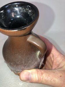1960s Vintage STREHLA KERAMIK Brown Vase East German Pottery Lava GDR 7.25""