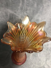 "Load image into Gallery viewer, Fenton Vase Fine Ribbed 10"" Marigold Carnival Glass Fantastic Color Stunning"