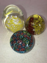 "Load image into Gallery viewer, 3 Glass Blown Paperweights 3"" Egg, 2"" Red & Yellow, 1.75"" Millefiori MCM Style"
