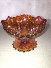 Load image into Gallery viewer, Fenton Iridescent Marigold Carnival Glass Pedestal Candy Dish Bowl Sawtooth Edge