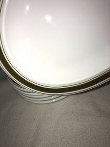 "Thomas Germany 6 White China With Avocado Green Striping Oval 11"" X 6 7/8"" Nice"