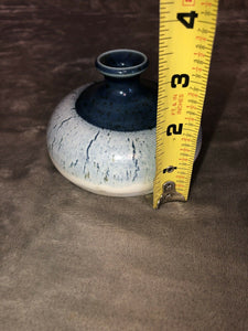 "Studio Art Pottery Bud Vase Signed Inkwell Or Eyeball Shaped ""Neal"" Unique Piece"
