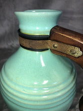 Load image into Gallery viewer, Pacific Potteries Coffee Carafe Light Blue Wooden Handle Marked Eames Era MCM