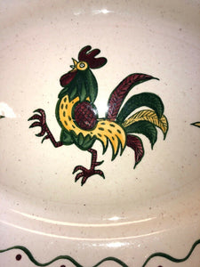 "Vintage Metlox Poppytrail Rooster 13.5"" Oval Platter California Provincial"