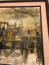 Load image into Gallery viewer, Large Vintage Lee Reynolds Abstract Oil Painting Cityscape Mid Century Modern