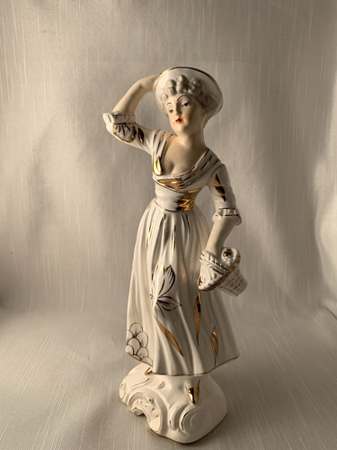 Lady in White with Gold Trim Perfect Gift Kitch Chic Vintage Boho