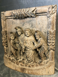 "Vintage Hand Carved Wooden Deep Relief Jesus & 3 Roman Soldiers 19.75"" x 22""x 4"""