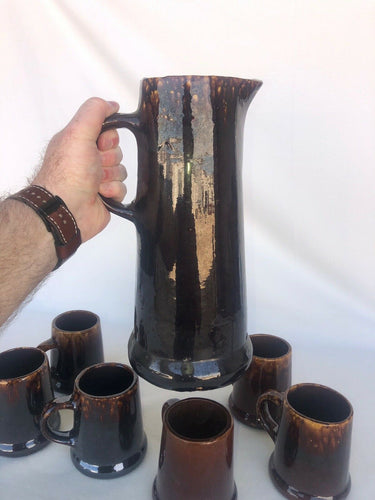 "Bennington Pottery Brown Drip Glaze Tankered 12.5"" & Six Mugs 4.5"" Great Patina"