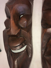 "Load image into Gallery viewer, A Pair Of MCM Hand Carving Hardwood Eames Era Tribal Tiki Large 23.5"" Long"