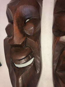 "A Pair Of MCM Hand Carving Hardwood Eames Era Tribal Tiki Large 23.5"" Long"