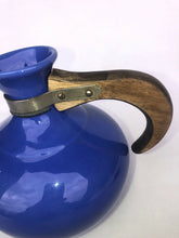 Load image into Gallery viewer, Vintage Bauer Coffee Carafe with Lid Blue Wooden Handle Marked Eames Era MCM