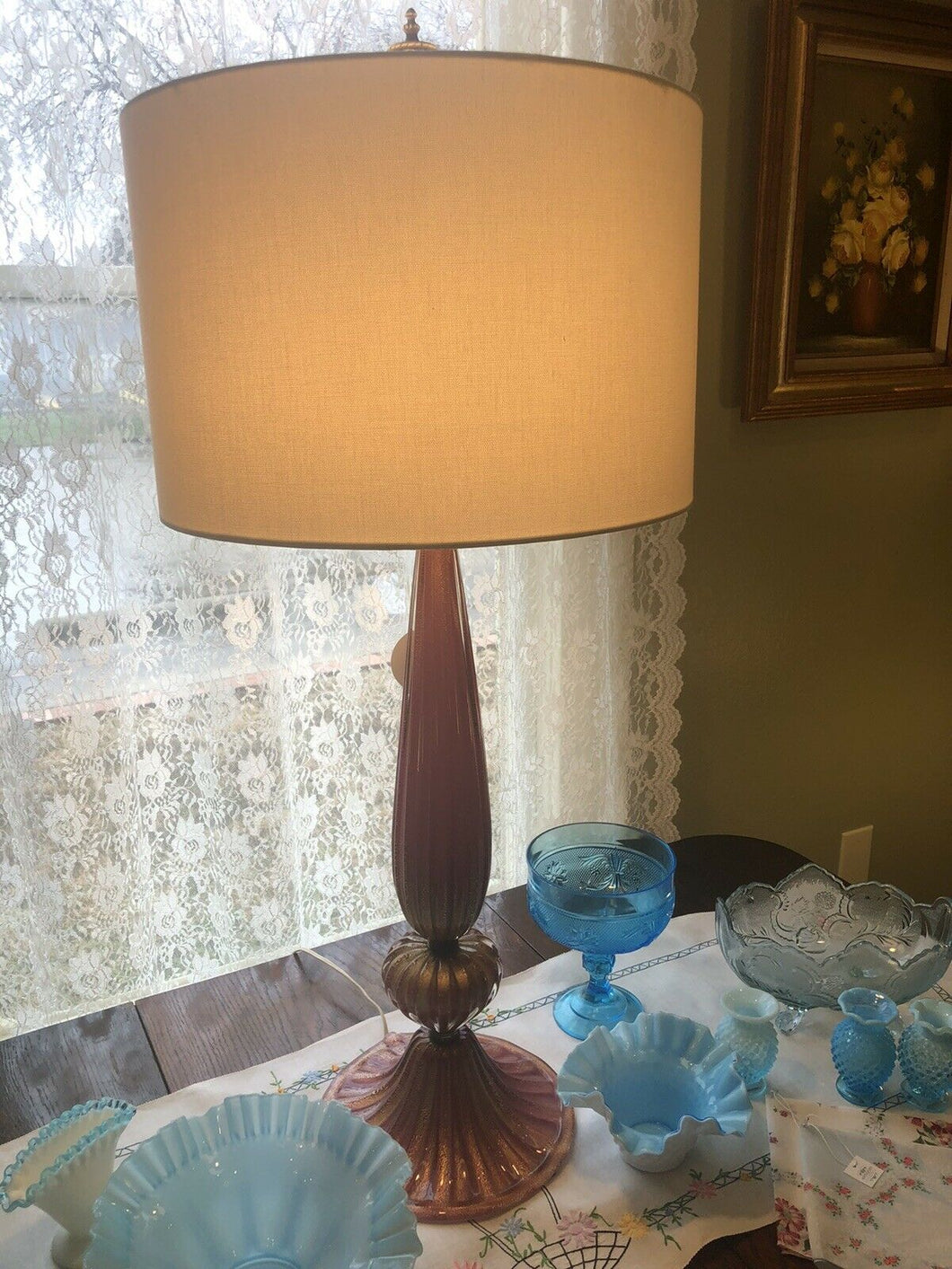 Mid Century Murano Art Glass Lamp 37 Inches Pink With Gold Fleck Eames Era Wow!