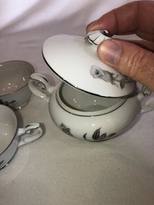 Nocturne by Yamaka Japan Fine China Gray Rose Pattern Sugar Bowl & 2 Cups