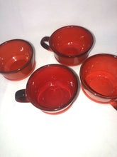 Load image into Gallery viewer, Metlox Poppytrail Red Rooster Set Of 4 Cups Brilliant Red Eames Era MCM Kitchen