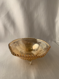 Vintage Floragold Bowl/Candy Dish with Hobnail Trim Boho Hippie Retro Chic