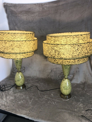 Pair Of Premium All Original 1950s Eames Era Atomic Table Lamps Parchment Shades