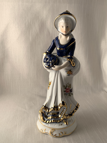 Lady in Blue with White Dress-KPM Berlin Porcelain Perfect Gift Kitch Chic Vintage Boho