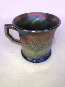 FENTON 1911 Electric Blue Carnival Glass Tree Shaving Mug: 3 1/2 Tall