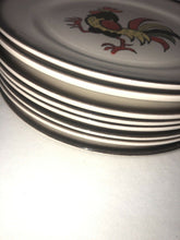 "Load image into Gallery viewer, Vintage Metlox Poppytrail Red Roster Set Of 8 Dinner Plates 10"" Eames Era Cool"