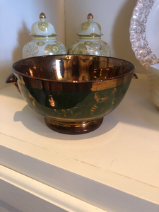 Vintage Green and Copper Glass Bowl Depression Hipster Kitchen Retro Kitch