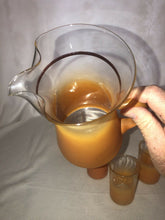 Load image into Gallery viewer, Vintage 6 Piece Blendo Orange/Clear Frosted Juice Pitcher & 5 Glasses Drink Set