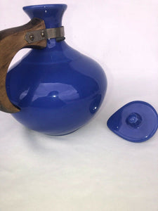 Vintage Bauer Coffee Carafe with Lid Blue Wooden Handle Marked Eames Era MCM