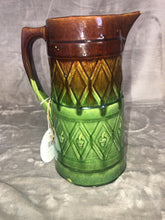 Load image into Gallery viewer, Antique Pitcher Majolica Green & Brown Drippy Glaze Fantastic Patina 9.5""