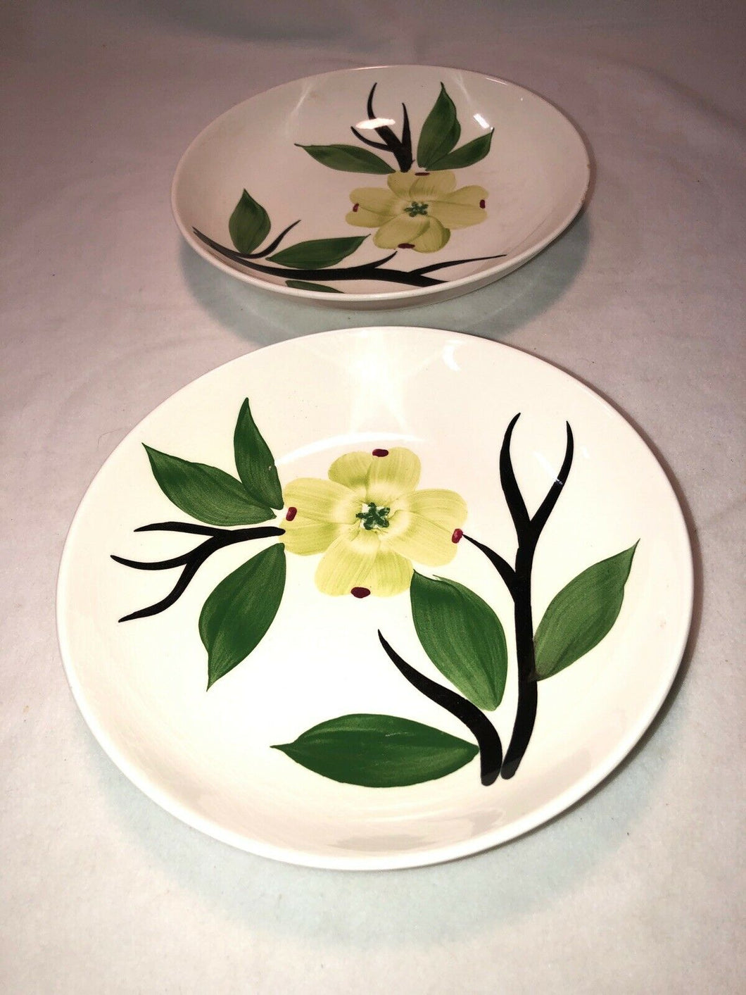 "Vintage Blue Ridge Pottery Dixie Dogwood Pattern 2 - 8.25"" Bowls"