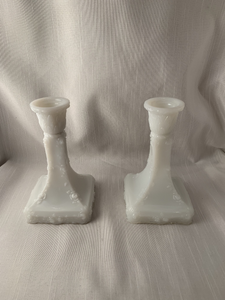 Milk Glass Candle Holders Stick Set of 2 Perfect Boho Chic Retro Hipster Hippie