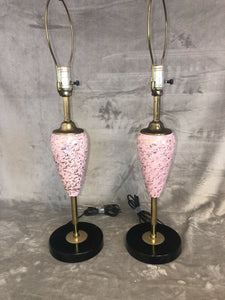 A Pair Mid Century Modern Atomic Pink & Gold Fleck Lamp Basses Very Clean 26.5""