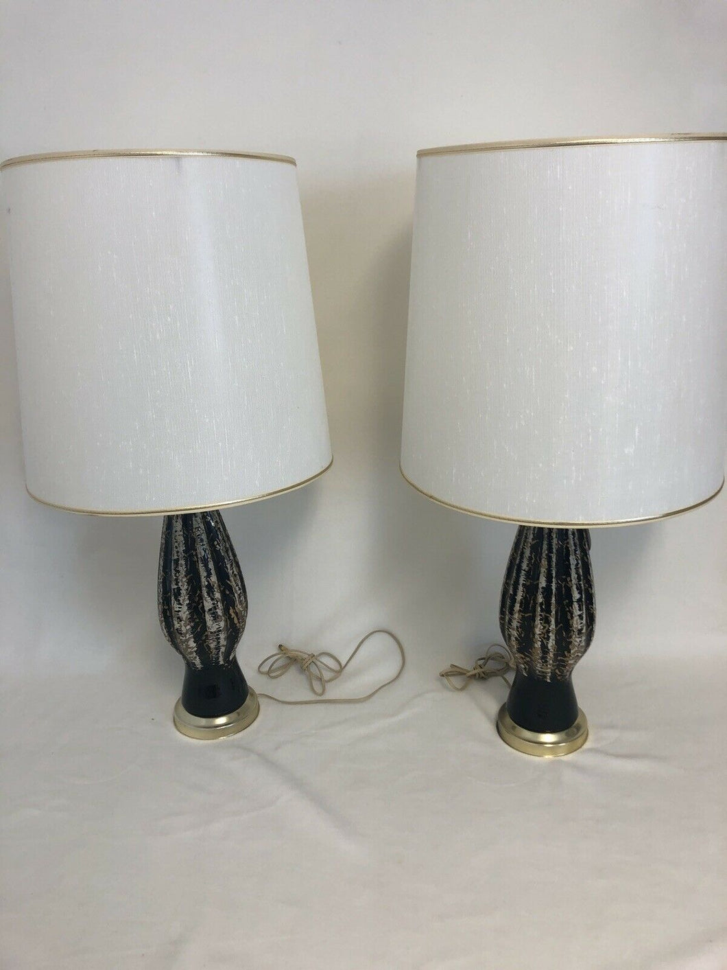Pair Of Mid Century Danish Modern Atomic Black & Gold Eames Era Table Lamps 29""