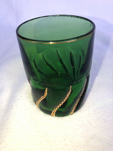 "Dunkin Circa 1890 Green And Gold Tumbler 3.75"" Hand Blown"