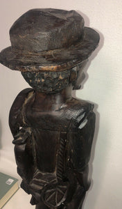 "50s 60s African Tribal Fishermen 25.25"" Tall Carved Hardwood 5.75"" Across Base"