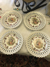 Load image into Gallery viewer, 4 German Reticulated Tea Plates Fantastic Condition Party Gift Boho Chic