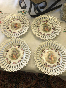 4 German Reticulated Tea Plates Fantastic Condition Party Gift Boho Chic
