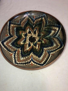 "Vintage Hand Painted Mexican Terra-cotta Decorative Plate 8.75"" Great Design"