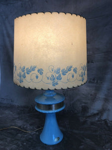 "Vintage 1950s Table Lamp 25.25"" With Shade Blue Labeled Parchment Shade Eames"