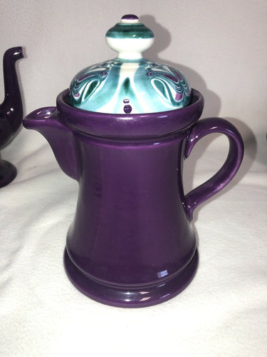 Rare Majolica Schramberg Ger. Violetta Cir 1915 Art Nouveau Coffee Pot With Lid