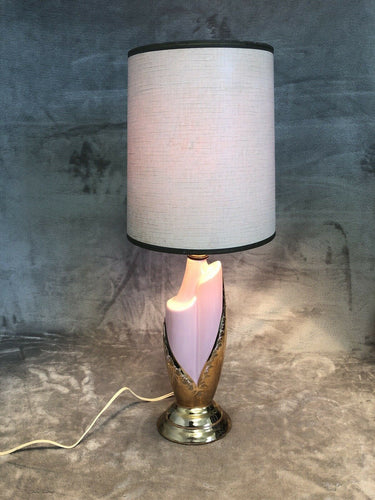 "Vintage 1950s Small Table Or Bedside Lamp 18.5"" With Shade Pink & Gold Eames Era"