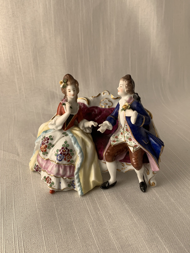 Male and Female on Sofa Sitzendorf Porcelain Very Rare Great Condition Fantastic