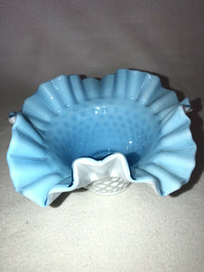 "Beautiful Fenton Overlay Bowl Light Blue Over Milk Glass Hobnail 7"" Across Wow!"